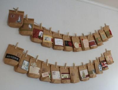 Adventskalender av pappåsar